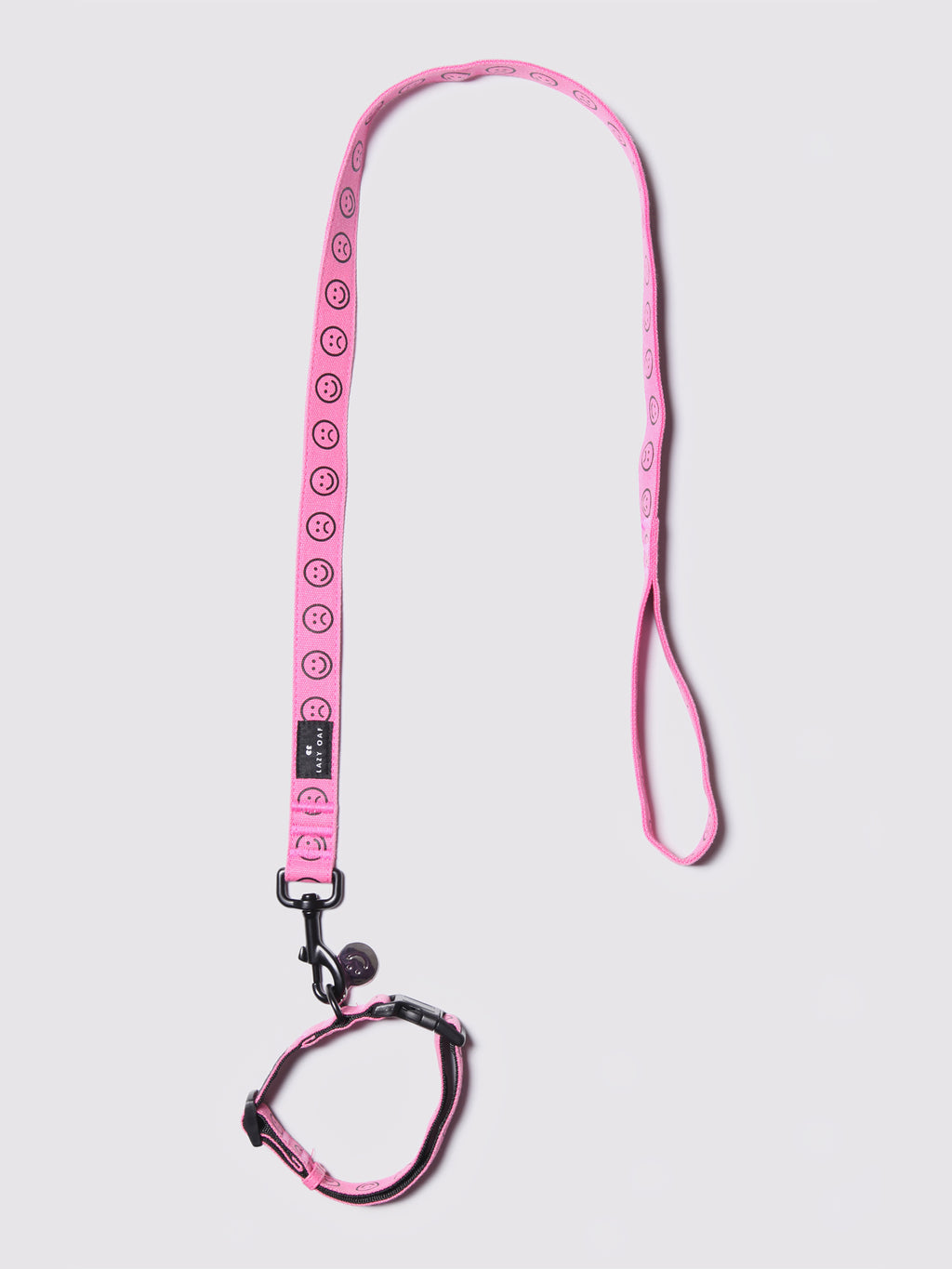 Lazy Oaf Pink Happy Sad Dog Collar