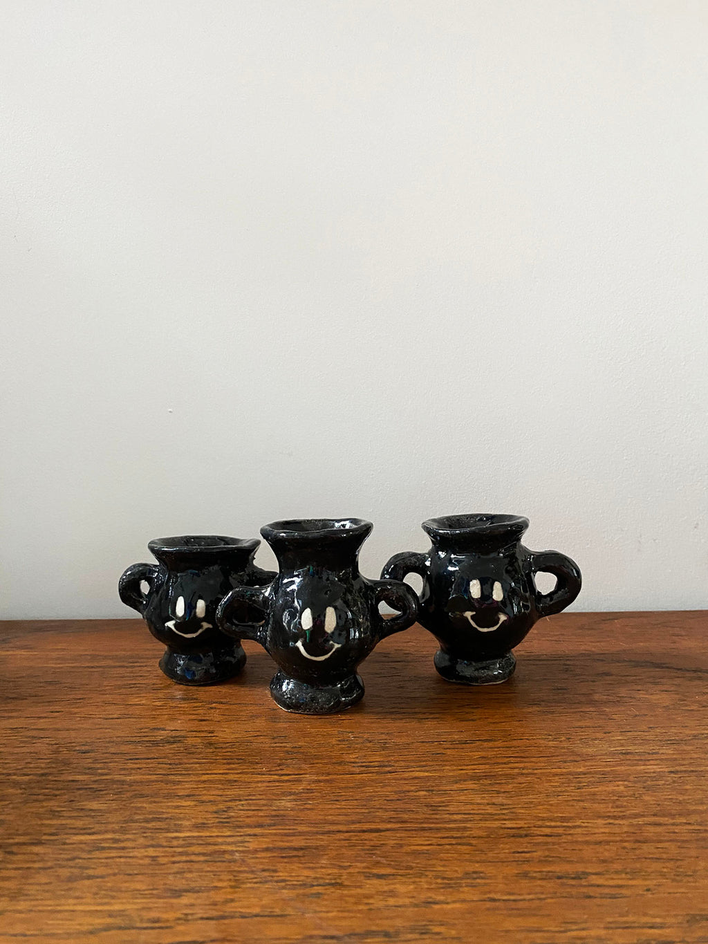 Black Stoneware Buddy vase with Arms