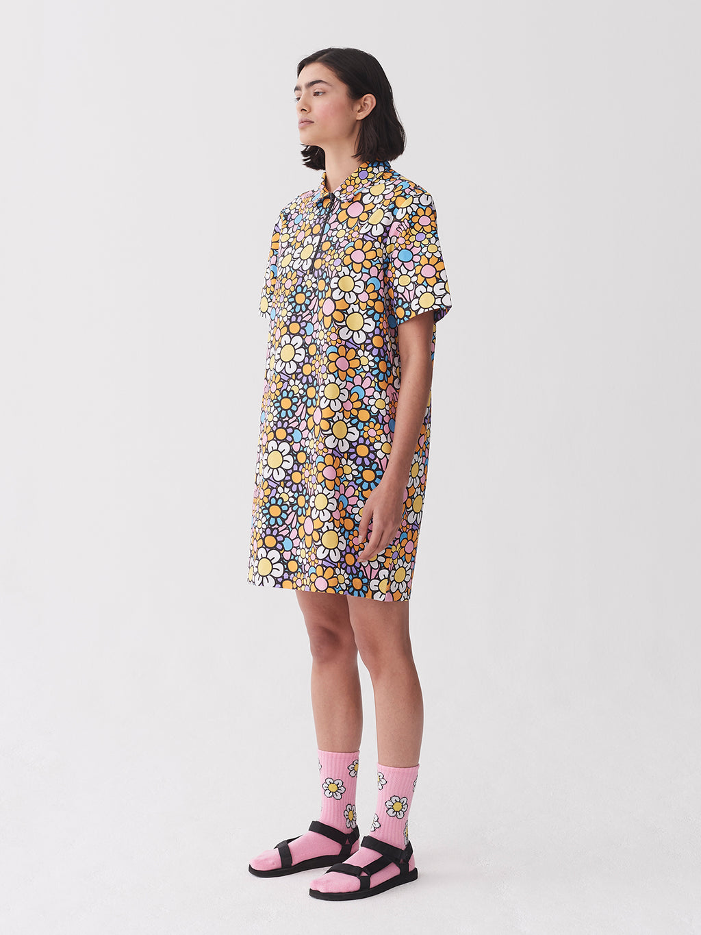 Lazy Oaf In Bloom Zippy Shirt Dress