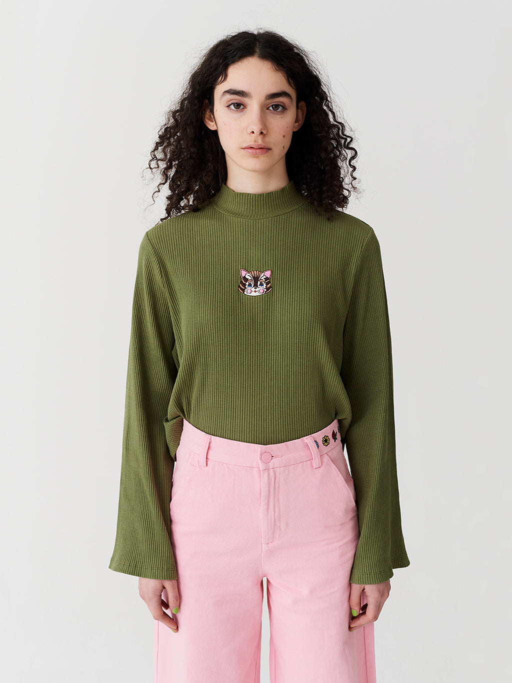 4a47011a1d Lazy Oaf Kitty Rib Long Sleeve Top