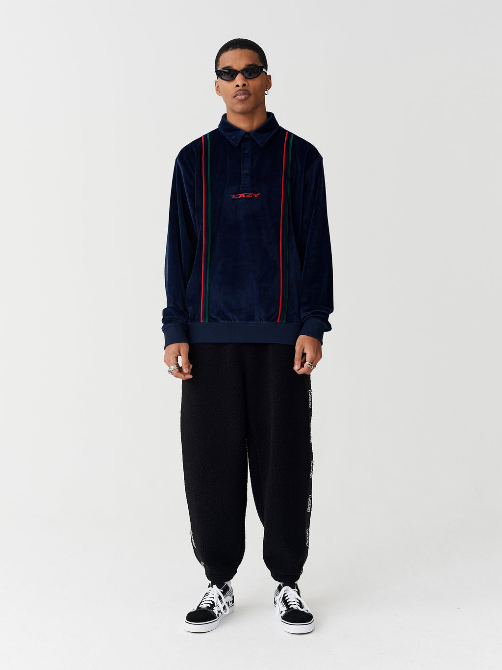 Lazy Oaf Lazy Stripe Velour Polo
