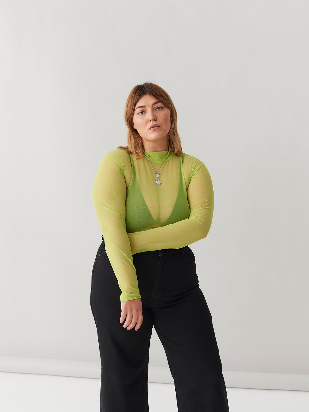 LO Sheer Turtleneck - Lime