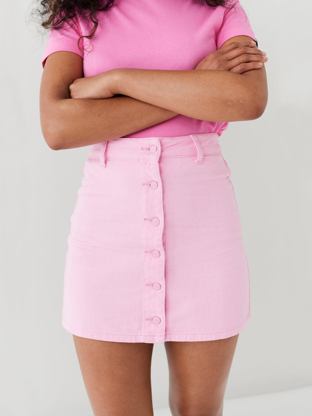 LO Pink Button Through Skirt