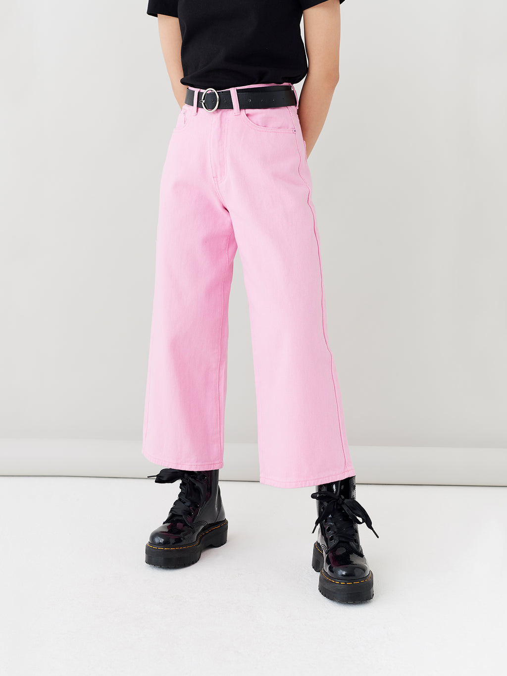 LO Pink Cropped Wide Leg Jeans