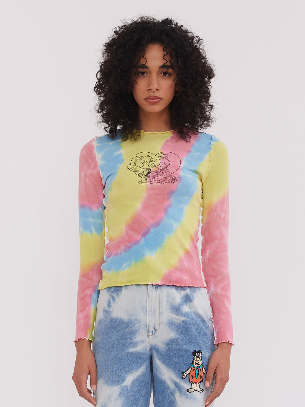 Lazy Oaf x The Flintstones Bedrock Tie Dye Top