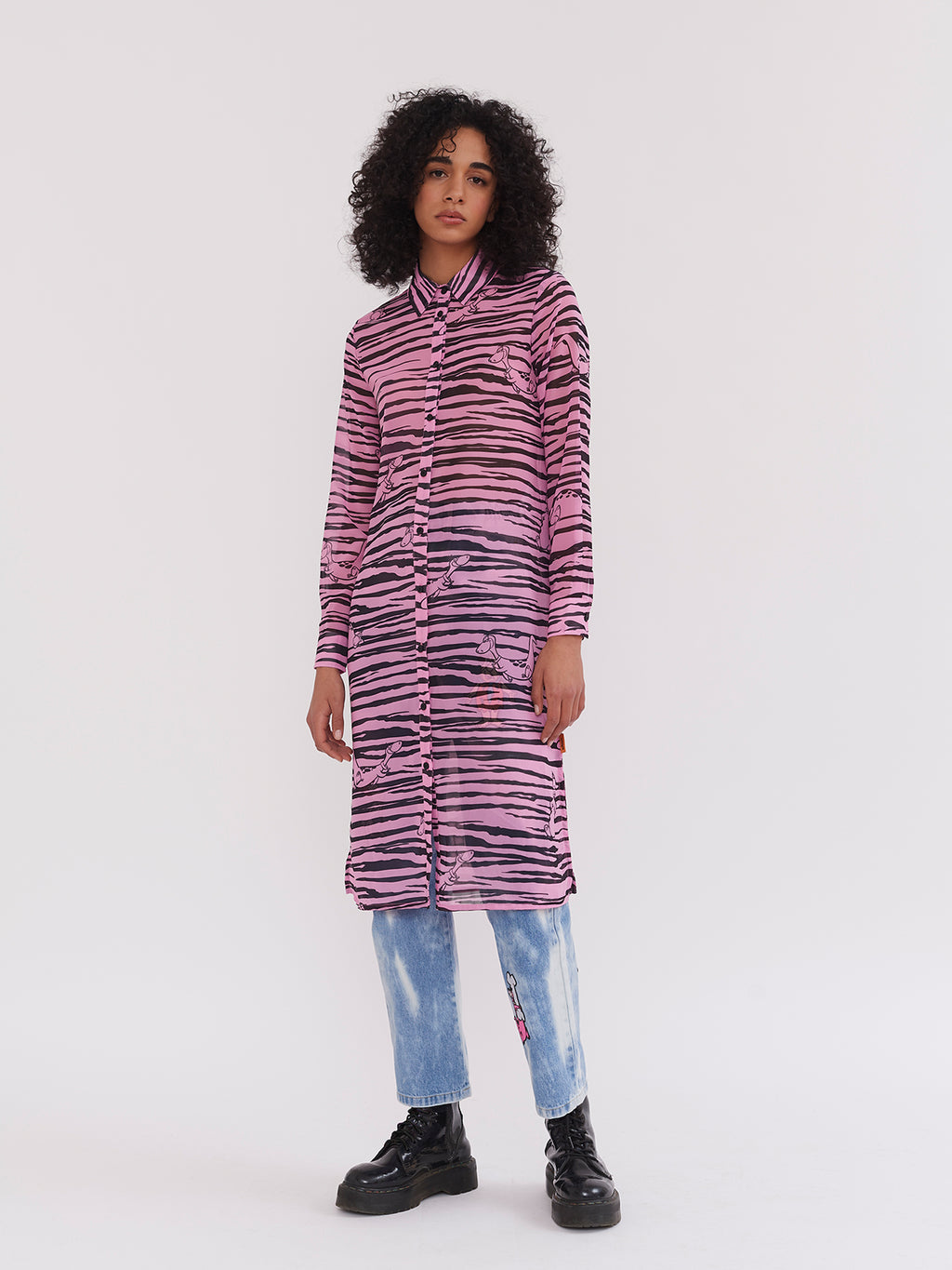 Lazy Oaf x The Flintstones Sheer Dino Shirt Dress
