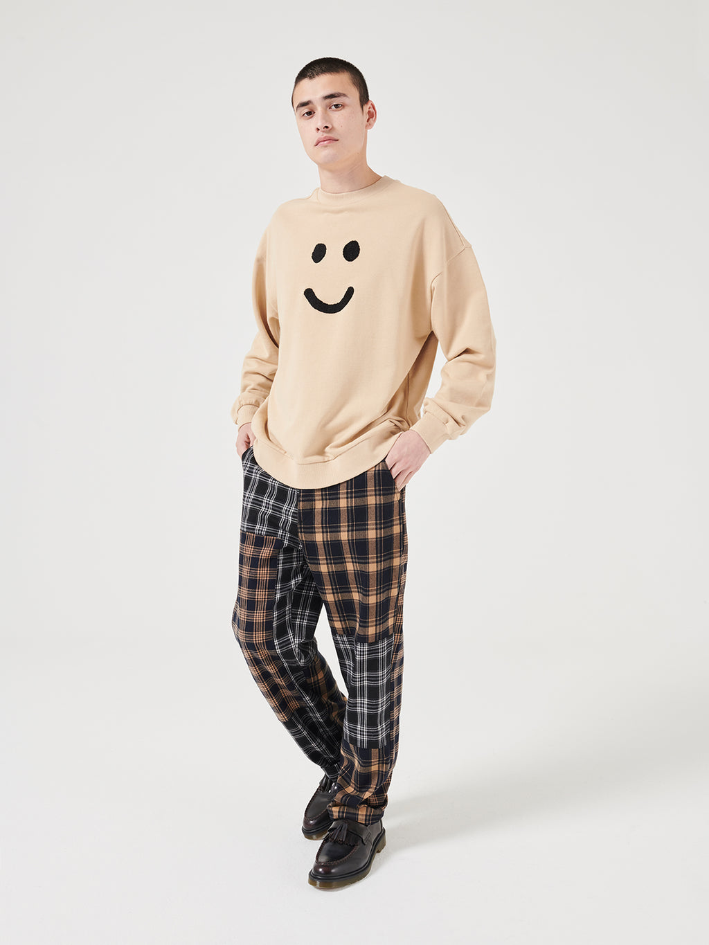 Lazy Oaf Mood Unisex Crew Neck Sweatshirt - Beige