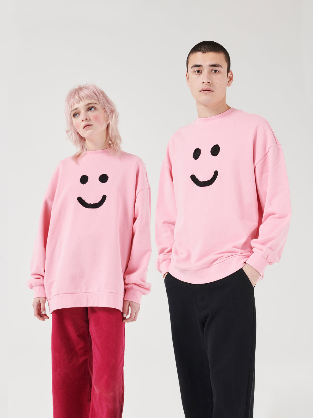 Lazy Oaf Mood Unisex Crew Neck Sweatshirt - Pink