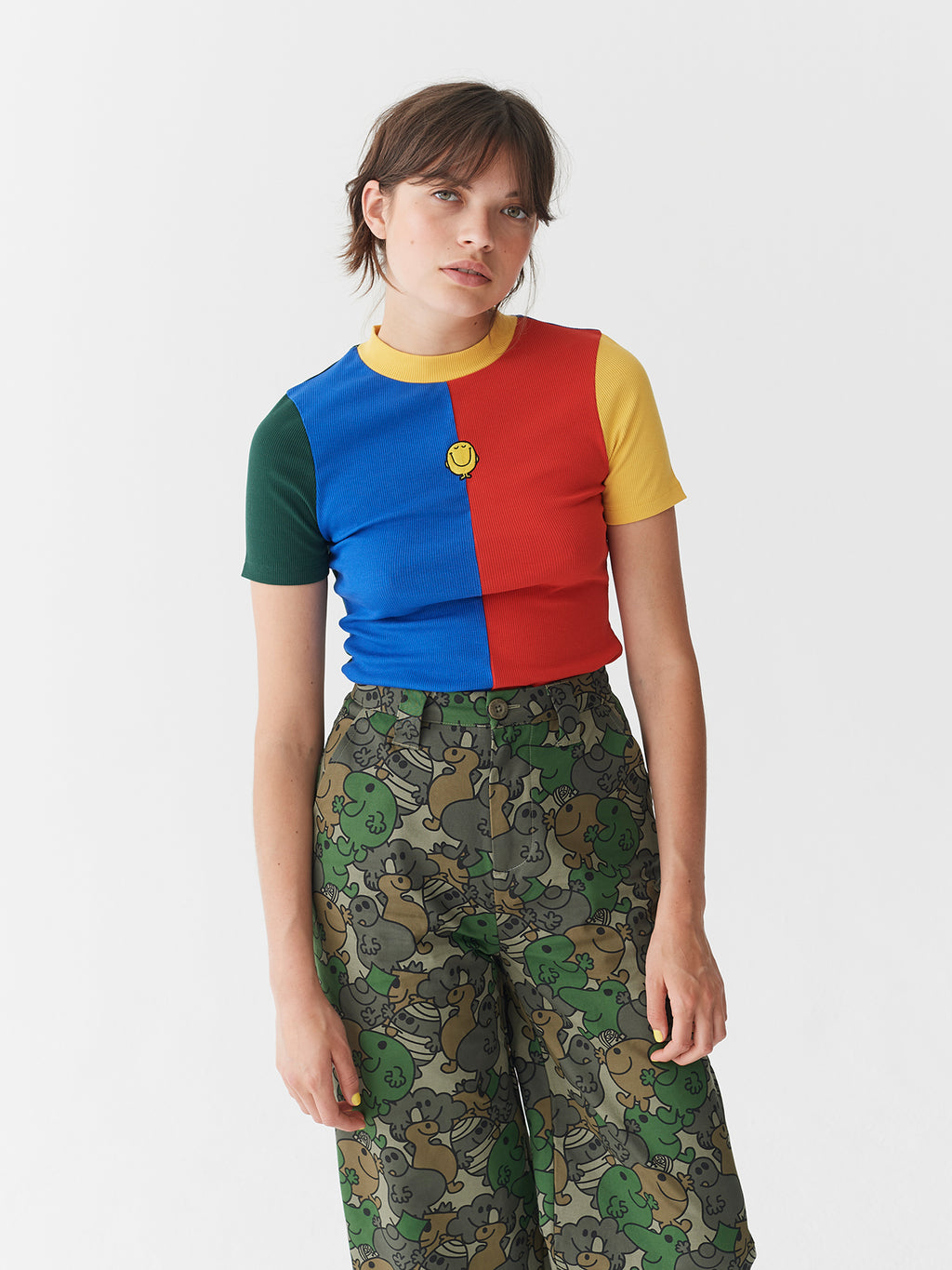 Lazy Oaf x Mr. Men Mr. Happy Rib Fitted T-Shirt