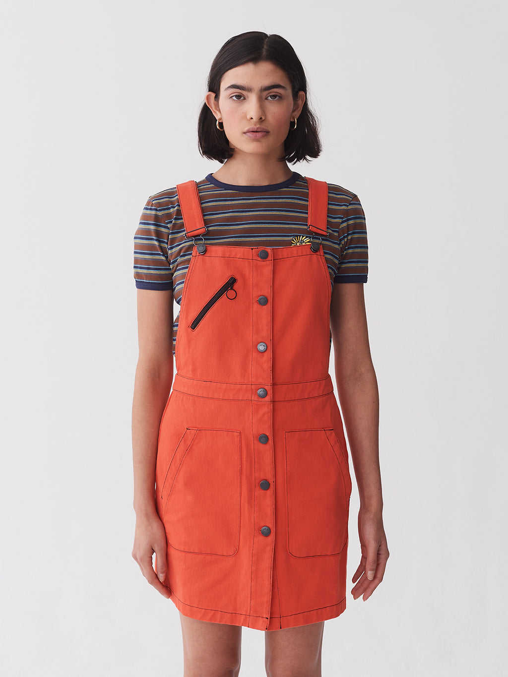 Lazy Oaf Orange Workwear Pinafore Dress