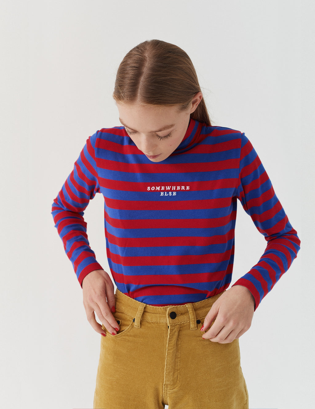 Lazy Oaf Red & Blue Stripey Long Sleeve Roll Neck