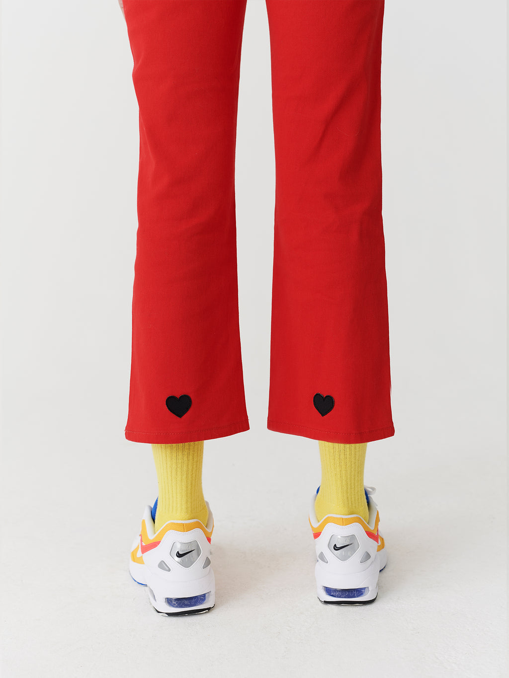 Lazy Oaf Red Heart Denim Kick Flare Trousers