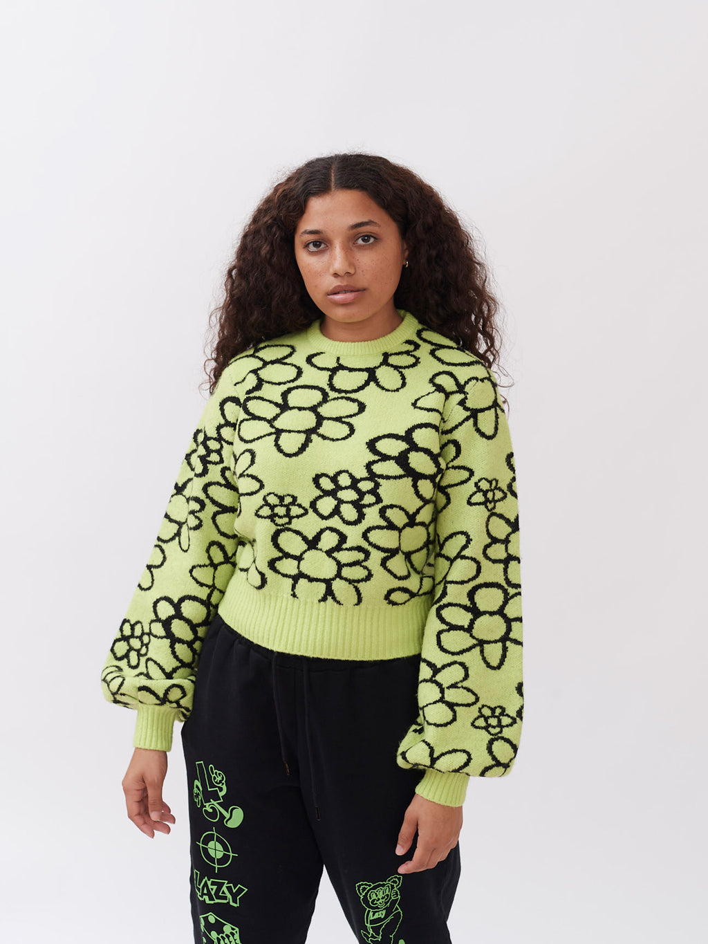 Lazy Oaf Scribble Flower Fluffy Knit Jumper
