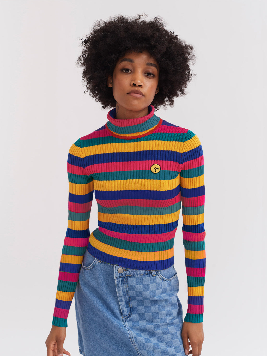 Lazy Oaf Crayon Stripe Fitted Knit Top
