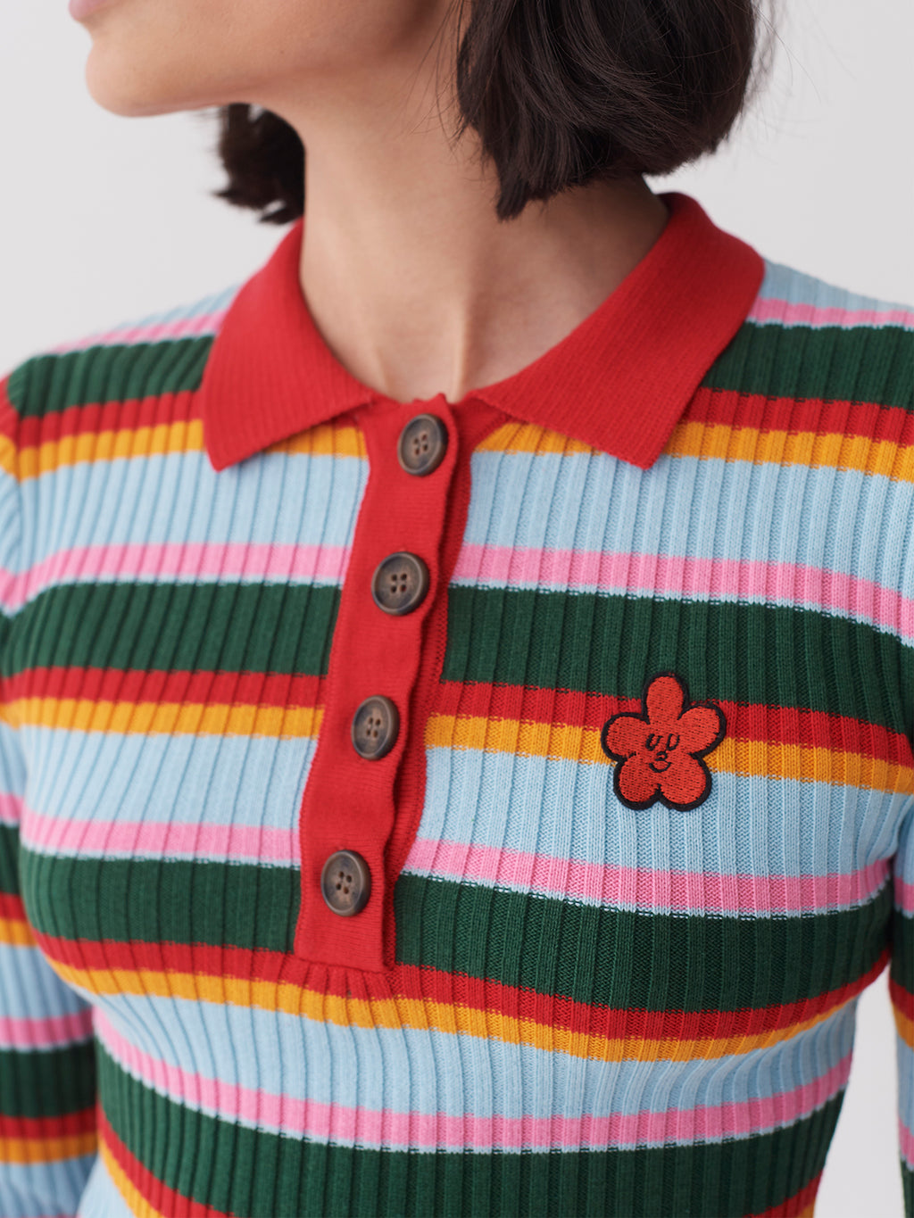 Lazy Oaf Smiley Flower Knitted Shirt