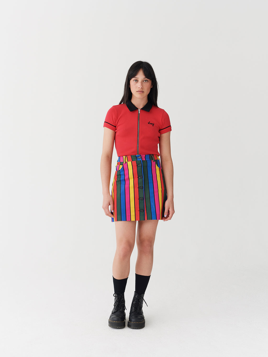 Lazy Oaf Stripy Button Skirt