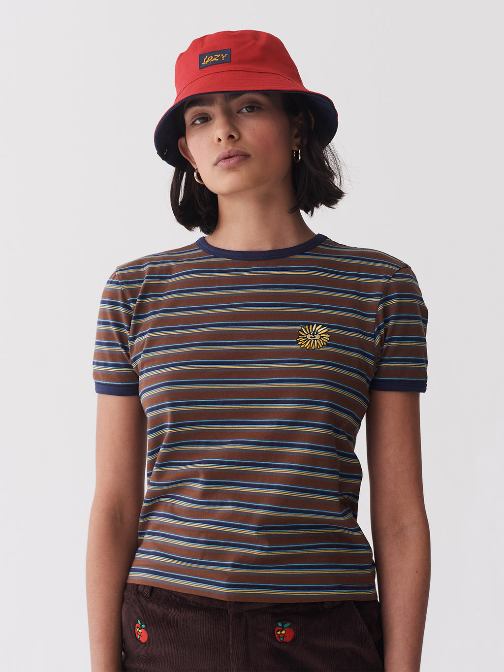 Lazy Oaf Stripy Sunflower Fitted Tee