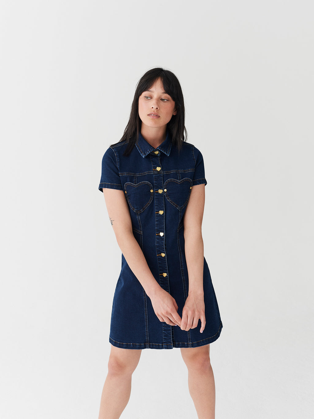 Lazy Oaf Denim Sweetheart Dress