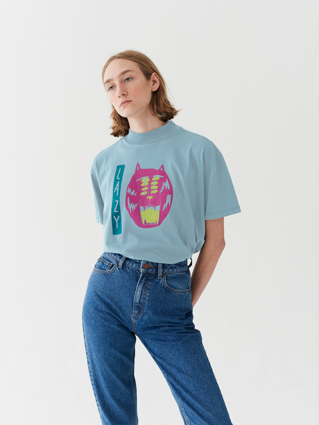 Lazy Oaf Eyes On The Prize Oversized T-Shirt - Baby Blue