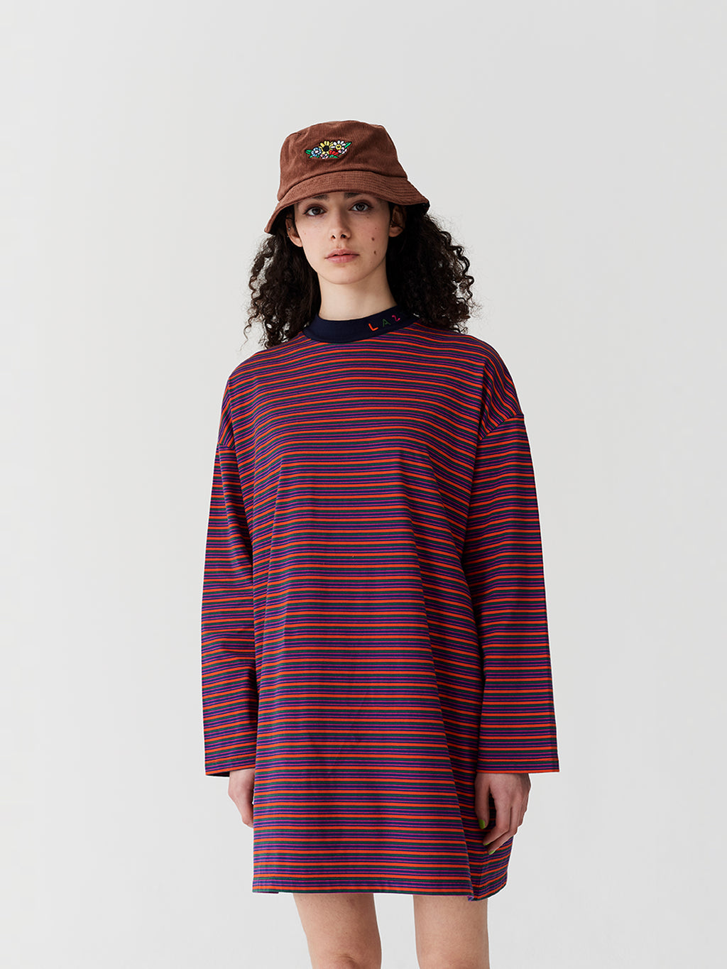 Lazy Oaf Tiny Stripe Oversized T-Shirt Dress