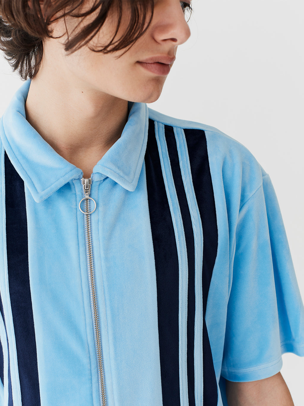 Lazy Oaf Velour Panel Zip Up Shirt