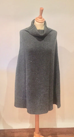 Cocowai cashmere mid length cape grey/charcoal- was £350.00 now £175.00