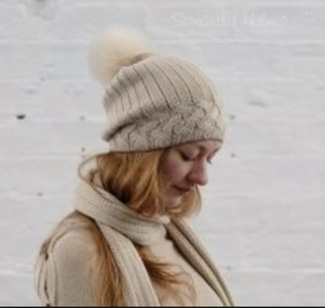 Samantha Holmes Cable Alpaca Pom Pom Hat - SALE - was £65.00 now £50.00