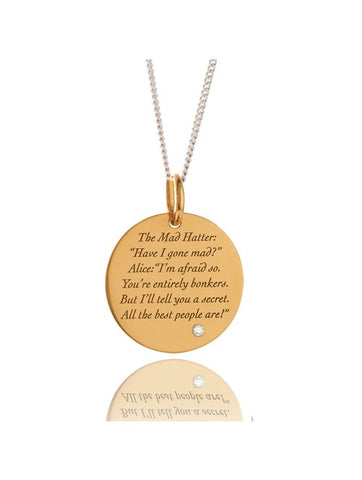 "MAD HATTER GOLD PENDANT/MEDIUM WITH 16-20"" Silver chain- sale was £110.00"