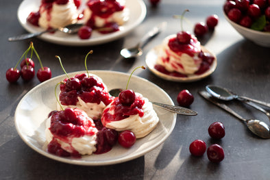 Perfect Pavlova with Red Wine Cherry Compote