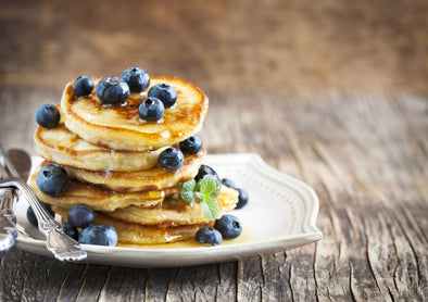 Protein packed vanilla blueberry pancakes