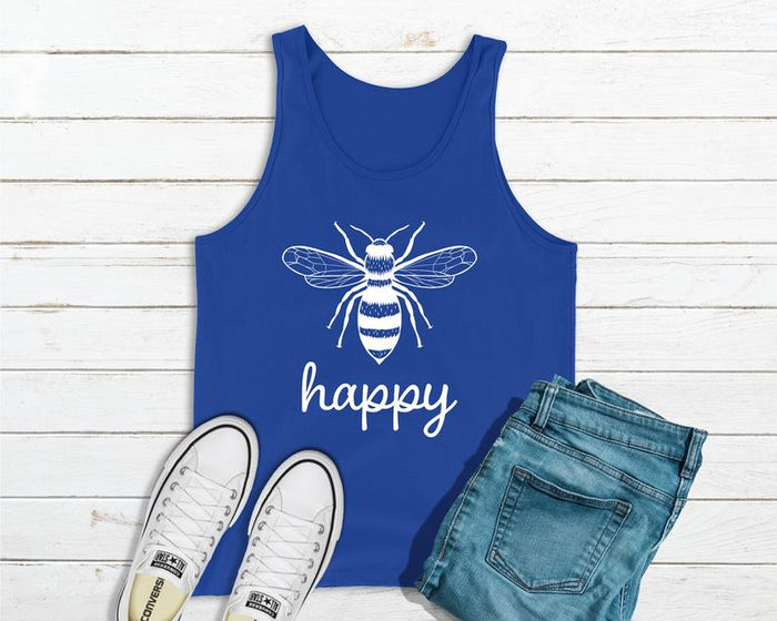 Bee Happy - Save The Bees Blue Tank