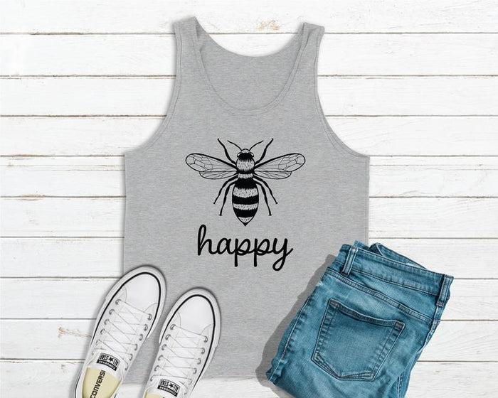 Bee Happy - Save The Bees Heather Gray Tank