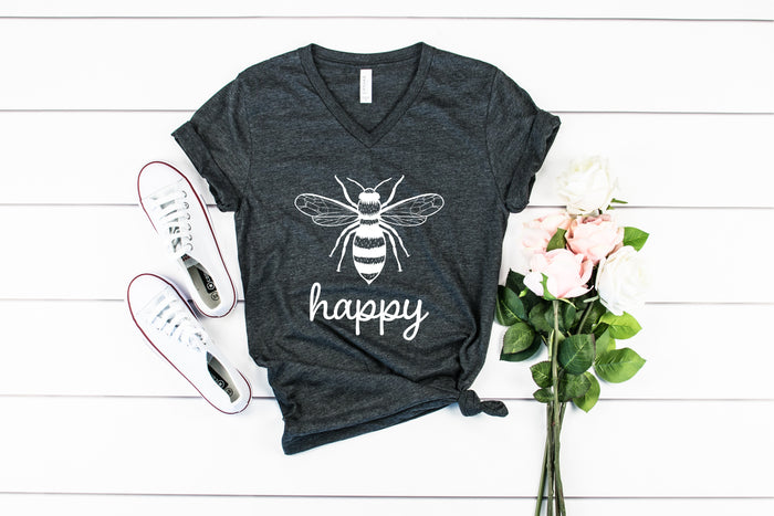 Bee Happy - Save the Bees V-Neck Tees (4 Colors!)