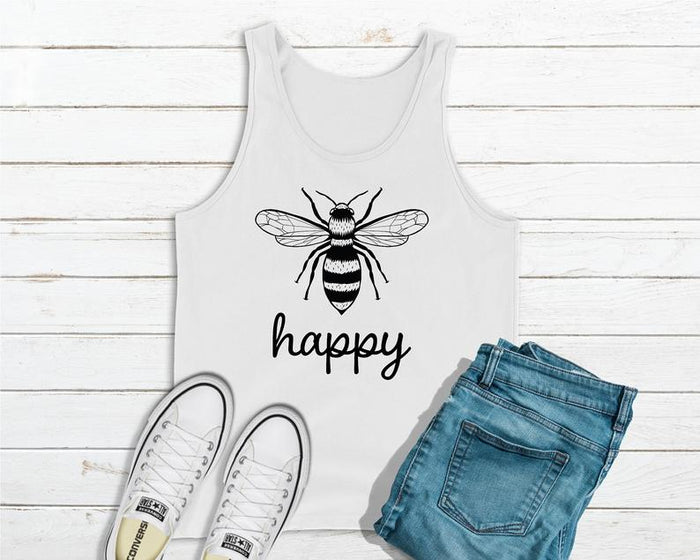 Bee Happy - Save The Bees White Tank