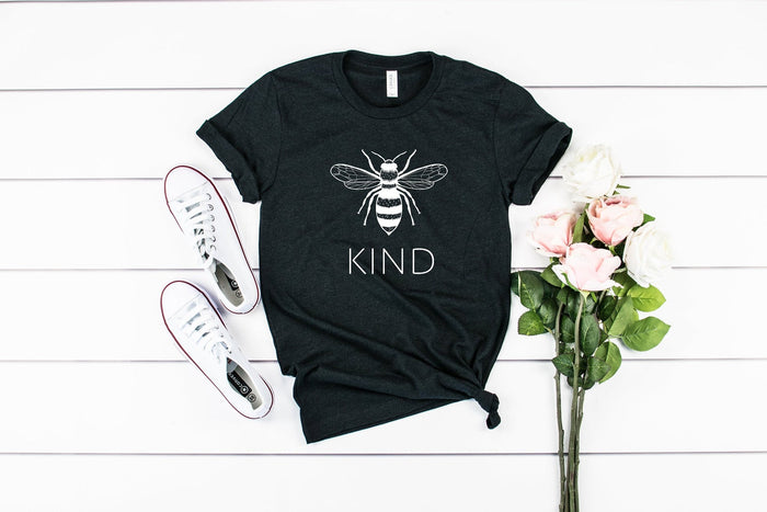 Bee Kind - Save The Bees Black Heather Crew Tee