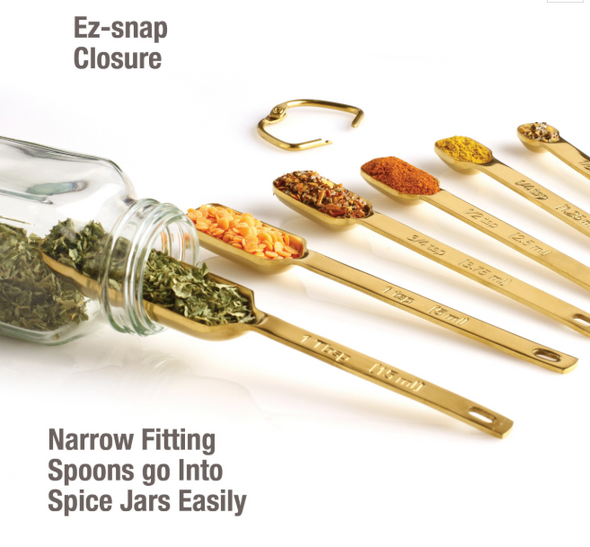 Measuring Spoons - Heavy Duty Gold Plated Set of 7