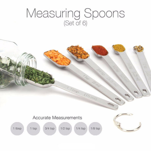 Measuring Spoons - Narrow Stainless Steel Set of 7