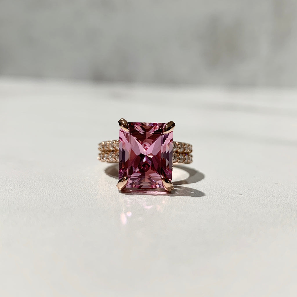 Radiant cut pink champagne sapphire engagement ring