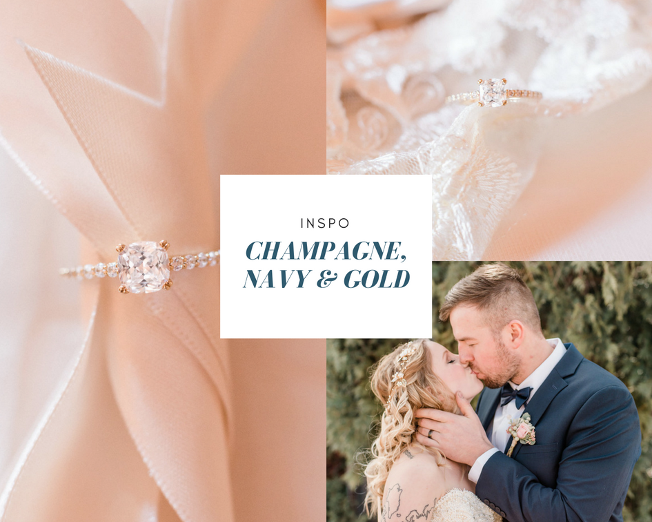 champagne navy and gold wedding inspo
