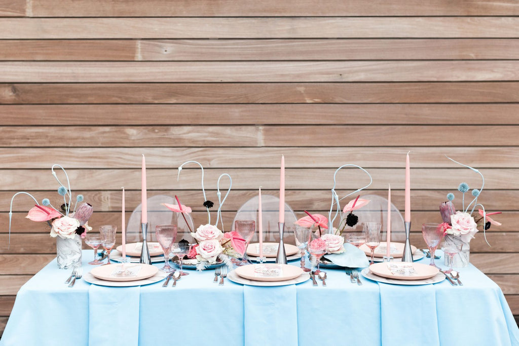 Pink and blue retro glam wedding inspiration