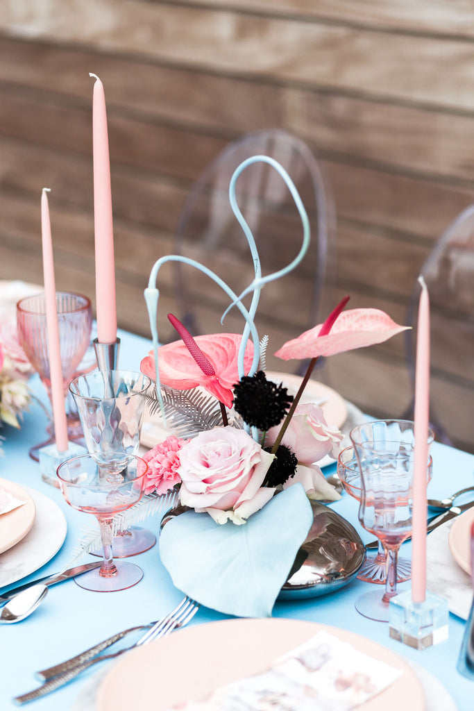 Whimsical blue and pink wedding florals