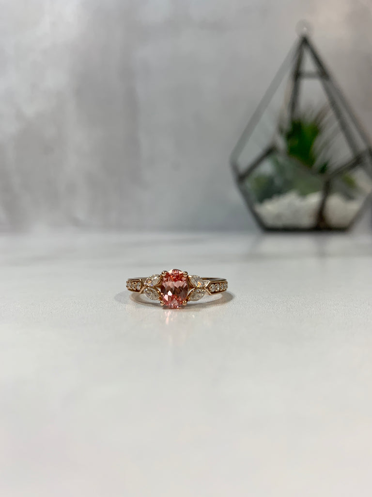 Chatham champagne sapphire oval engagement ring rose gold