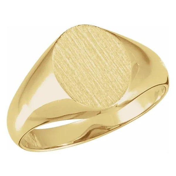 Yellow gold brushed signet ring