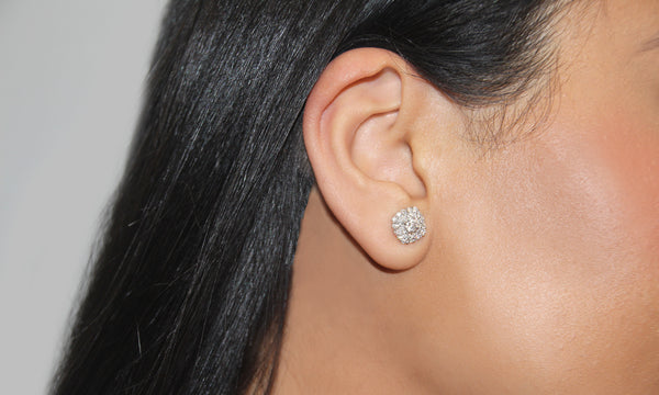 Rounded square lab-grown diamond earrings