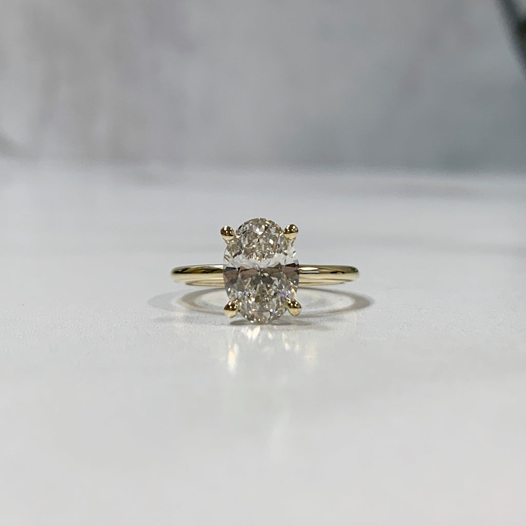 Classic yellow gold oval lab grown diamond engagement ring