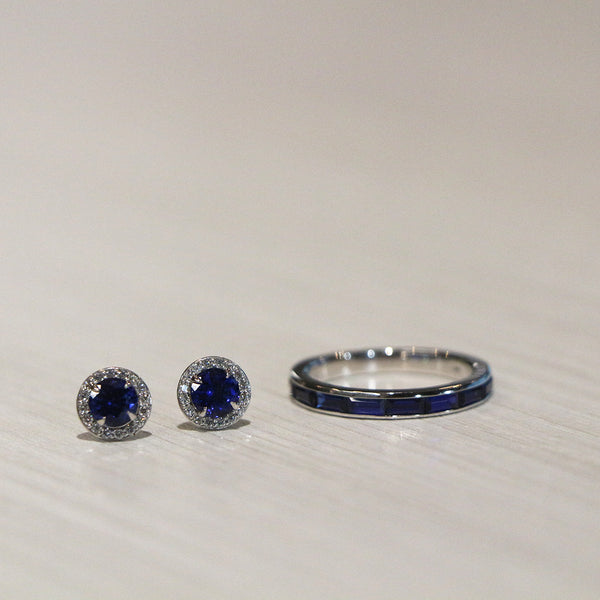 Lab-grown blue sapphire halo earring