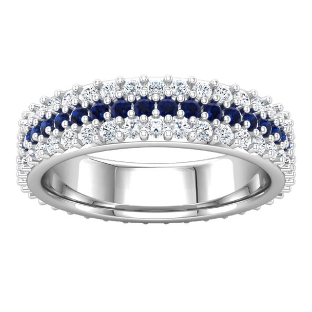 Soha Diamond co. three row diamond and blue sapphire band