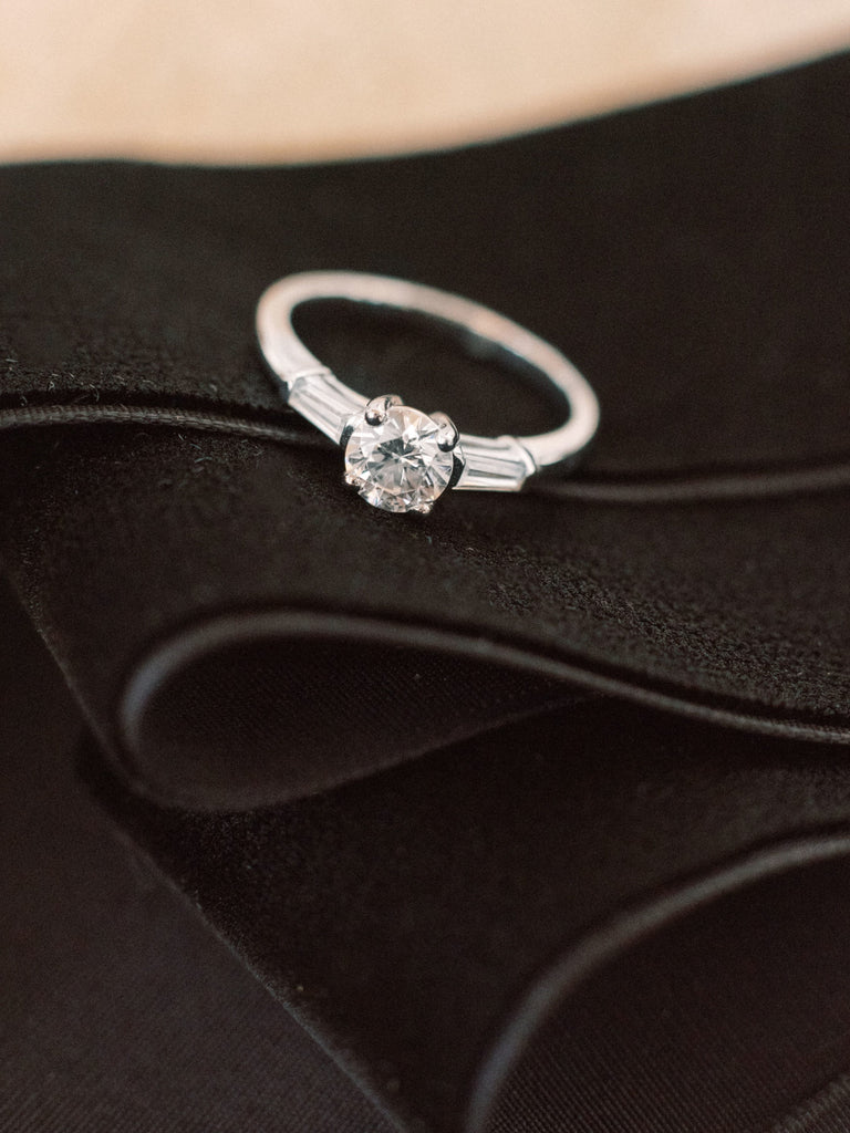 Three stone moissanite engagement ring