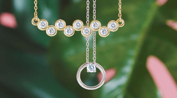 moissanite bezel set necklace and circle necklace
