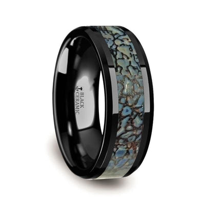 PERMIAN Blue Dinosaur Bone Inlaid Black Ceramic Beveled Edged Ring - 8mm